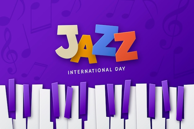 Flache internationale jazz-tagesillustration