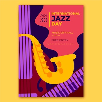 Flache internationale jazz-tagesplakatschablone