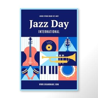 Flache internationale jazz-tagesplakatschablone