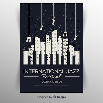 Flache internationale jazztagsplakatschablone