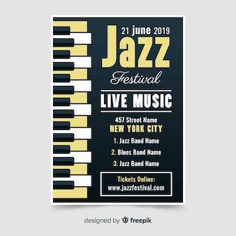 Flache internationale jazztagsplakatschablone
