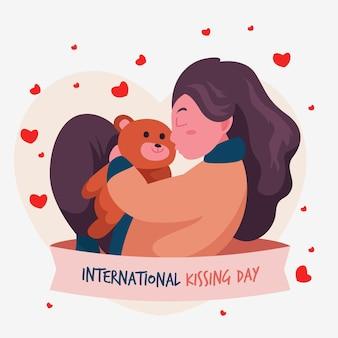 Flache internationale kuss-tagesillustration mit frau und teddybär