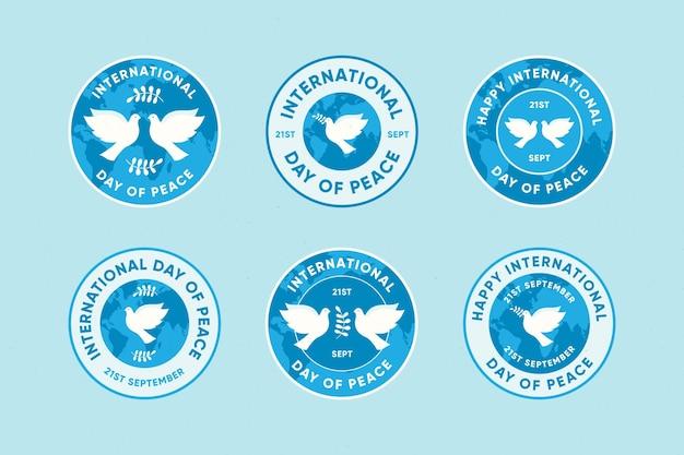 Flache internationale tag des friedens etiketten