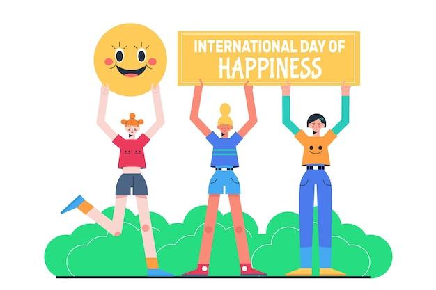Flache internationale tag des glücks illustration