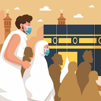 Flache islamische hadsch-pilgerillustration