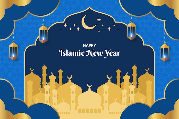 Flache islamische neujahrsillustration year