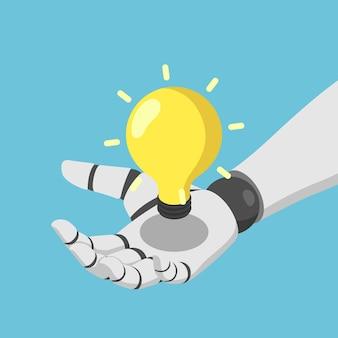 Flache isometrische 3d-ai-roboterhand, die das konzept der künstlichen intelligenz der ai-glühbirne hält