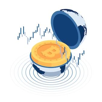 Flache isometrische 3d-bitcoin in der weltkugel mit börsenkerzendiagramm. kryptowährung und blockchain-konzept.