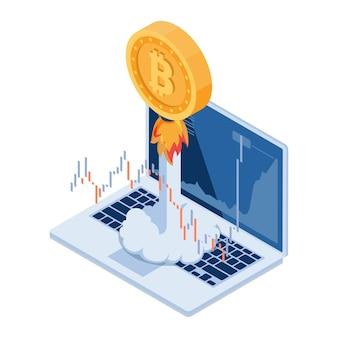 Flache isometrische 3d-bitcoin-rakete, die vom laptop hochfliegt. hoher wachstumswert des bitcoin- und kryptowährungskonzepts.