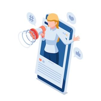 Flache isometrische 3d-frau verwendet megaphon, um ihre sozialen medien auf dem smartphone zu fördern. online-social-media-marketing-konzept.