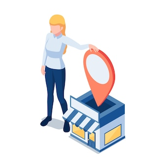 Flache isometrische 3d-frauenbesitzerin, die in ihrem einkaufsladen mit gps-standort-pin steht. speicherort und gps-navigationskonzept.