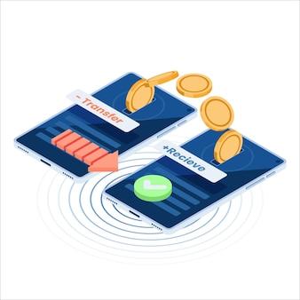 Flache isometrische 3d-geldüberweisung vom online-banking auf ein anderes smartphone. geldüberweisung und online-banking-konzept.