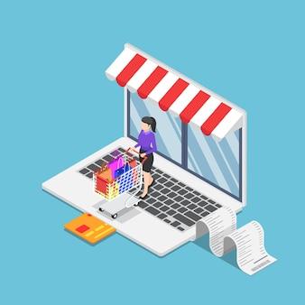 Flache isometrische 3d-geschäftsfrau mit warenkorb-shopping im online-shop auf dem laptop. online-shopping-konzept.