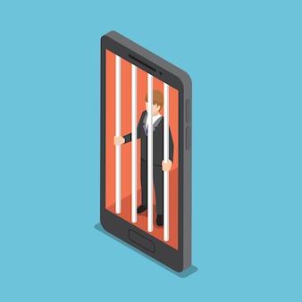 Flache isometrische 3d-geschäftsleute sind in einem smartphone-käfig gefangen. konzept der smartphone-sucht.
