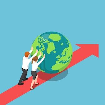 Flache isometrische 3d-geschäftsleute treiben die welt voran. globales geschäfts- und globalisierungskonzept.