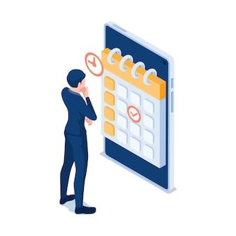 Flache isometrische 3d-geschäftsmann, der geschäftstermine in der kalenderanwendung auf dem smartphone überprüft. geschäftstermine konzept.