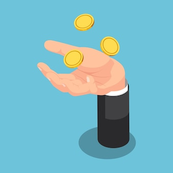 Flache isometrische 3d-geschäftsmann, der münze auf seine hand wirft. geschäfts- und finanzkonzept.