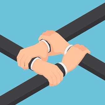 Flache isometrische 3d-geschäftsmann-hände, die einander am handgelenk halten. teamwork und business collaboration-konzept.