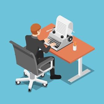 Flache isometrische 3d-geschäftsmann mit schreibmaschine. ghostwriter und content-marketing-konzept.