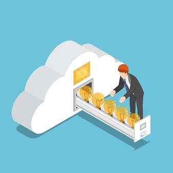 Flache isometrische 3d-geschäftsmann sammeln ideenglühbirne im wolkenformraum. geschäftsidee und cloud-computing-konzept.
