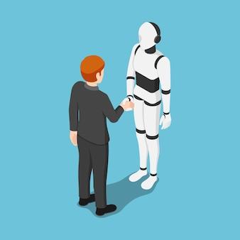 Flache isometrische 3d-geschäftsmann schütteln sich die hände mit einem ai-roboter. zukünftiges geschäft und künstliches intelligentes konzept.