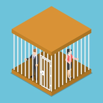 Flache isometrische 3d-geschäftsmann und geschäftsfrau im käfig gefangen.