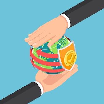 Flache isometrische 3d-geschäftsmannhände, die die welt und das garantieschild schützen. weltweites garantie- und kundendienstkonzept.