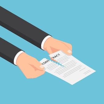 Flache isometrische 3d-geschäftsmannhände, die einen vertrag oder ein vereinbarungsdokument zerreißen. geschäftsvertragskonzept.