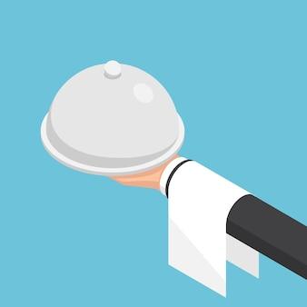 Flache isometrische 3d-geschäftsmannhand, die glocke und tablett hält. geschäfts- und gastronomiekonzept.