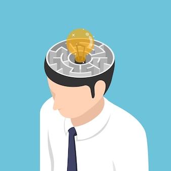 Flache isometrische 3d-glühbirne der idee befindet sich in der mitte des labyrinths im kopf des geschäftsmannes. idee konzept.