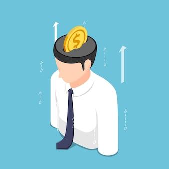 Flache isometrische 3d-goldene münze, die in den geschäftsmann-kopf setzt. investitionen in wissen und selbstverbesserungskonzept.