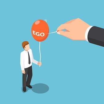 Flache isometrische 3d-große hand verwendet nadel, um den ego-ballon des geschäftsmannes zu zerstören. ego-konzept.