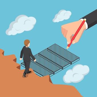 Flache isometrische 3d-großunternehmenshand, die die brücke zeichnet, um dem geschäftsmann über die lücke zu helfen. geschäftshilfe und unterstützungskonzept.