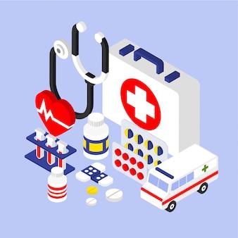 Flache isometrische 3d-infografik für medizin