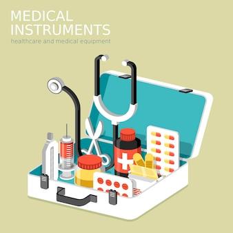 Flache isometrische 3d-infografik für medizinische instrumente mit hilfsset