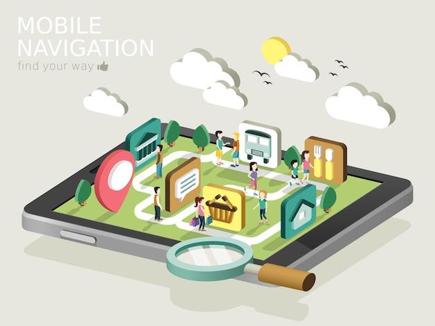 Flache isometrische 3d-infografik für mobiles navigationskonzept