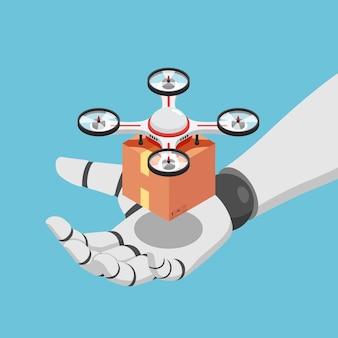 Flache isometrische 3d-ki-roboterhand, die quadrocopter oder drohne mit einem paket hält