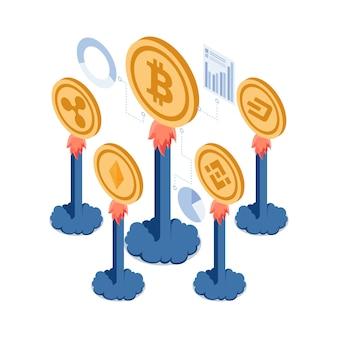 Flache isometrische 3d-kryptowährungs-alt-münze, die aufwächst folgen sie bitcoin. kryptowährungsinvestition und blockchain-technologiekonzept.