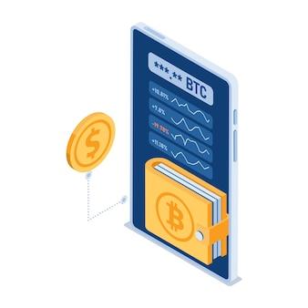 Flache isometrische 3d-kryptowährungs-digital-geldbörse im smartphone. digitale geldbörse für den handel mit kryptowährung und blockchain-technologiekonzept.