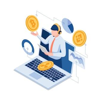 Flache isometrische 3d-online-investitionsexperten, die bitcoin und andere kryptowährungen erklären. experte für finanzinvestitionen und kryptowährungskonzept.