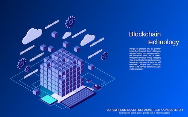 Flache isometrische 3d-vektorkonzeptillustration der blockchain-technologie