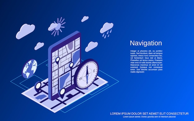 Flache isometrische 3d-vektorkonzeptillustration der navigation