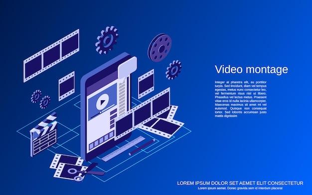 Flache isometrische 3d-vektorkonzeptillustration der videomontage