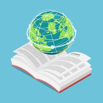 Flache isometrische 3d-weltkugel auf offenem textbuch. internationales bildungskonzept