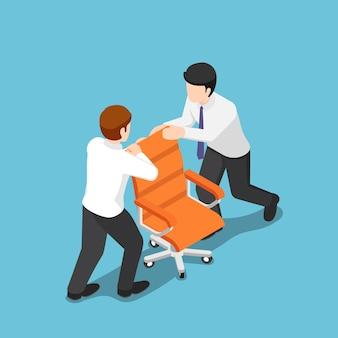 Flache isometrische 3d-zwei geschäftsleute kämpfen um den ceo-stuhl. business-wettbewerbskonzept.