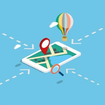 Flache isometrische bewegliche navigationskarten 3d infographic.