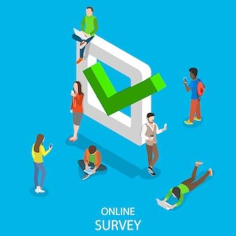 Flache isometrische darstellung der online-umfrage
