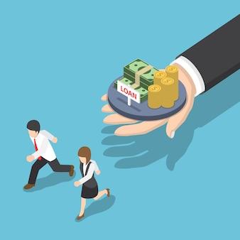 Flache isometrische geschäftsleute 3d, die vom darlehensangebot, vom darlehens- und schuldenkonzept weglaufen