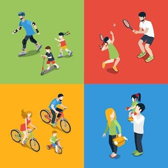 Flache isometrische hochwertige familiensportarten im freien spielen elternzeit-symbolsatz. mutter tochter sohn vater skaten tennis radfahren picknick. bauen sie ihre eigene weltsammlung auf.