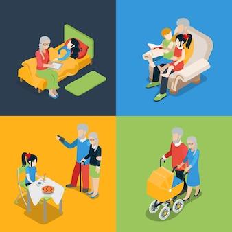 Flache isometrische hohe qualität familie oldies großeltern elternzeit icon set. opa oma enkel enkelin märchen lesen kinderwagen zu fuß. kreative personensammlung